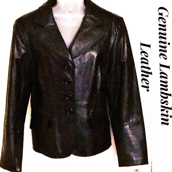Portrait Jackets & Blazers - Black Leather Jacket Portrait Lambskin NWOT